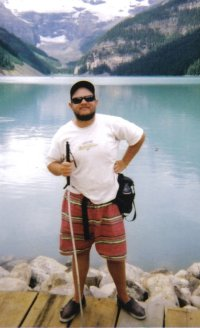 Tony on the shore of Lake Louise in the Rocky Mountains, Alberta, Canada