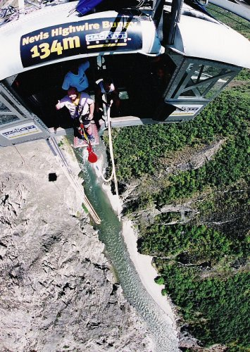 Tony preparing to jump. Nevis Highwire Bungy.