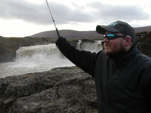 Tony at Godafoss waterfall