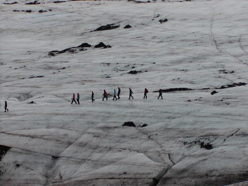 Hikers on Myrdalsjokull glacier