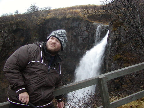 Tony by a waterfall in Skaftafell national park