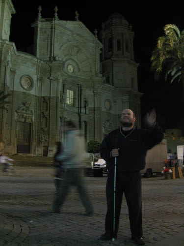 Tony in front of a church in Cadiz centre